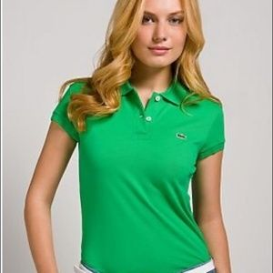 Lacoste Green Collar Top Sz 36 XS